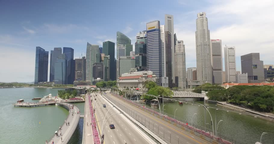 Drone elevating shot of Singapore City Skyline, opening establishing shot - Singapore