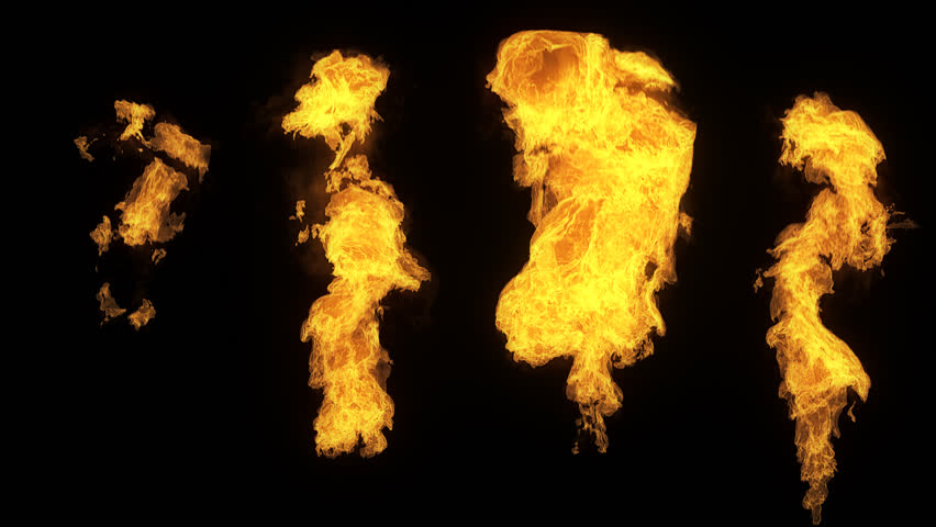A set of 4 isolated fire flames, slow motion gas ignition from bottom to top, high speed flamethrower isolated on black background with alpha channel, perfect for digital composition, video mapping.