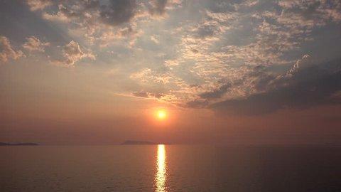 4K Sunset Beach Timelapse, Sunrise on Seashore, Ocean View at Sundown in Summer
