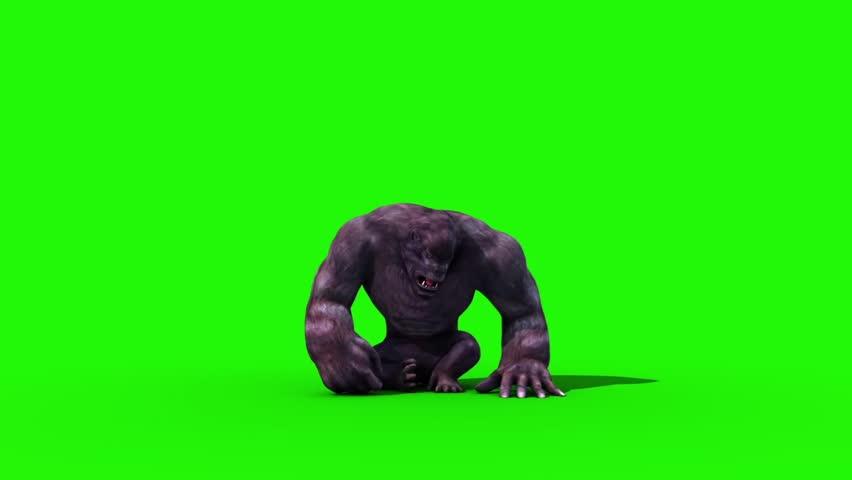Gorilla Screams and Dies Animals 3D Rendering Green Screen Animation