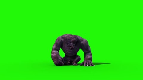 Gorilla Screams and Dies Animals 3D Rendering Green Screen Animation