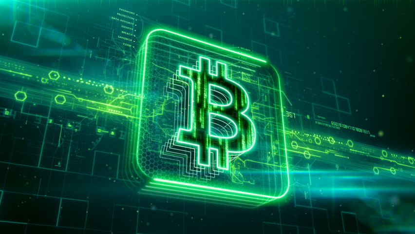 Abstract animation of bitcoin currency sign in digital cyberspace | Shutterstock HD Video #24205447