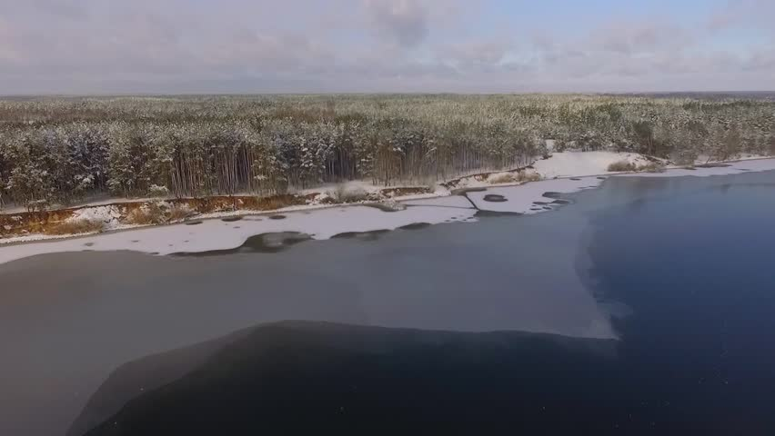 Aerial view of the frozen lake and snowy forest on the banks | Shutterstock HD Video #24209077