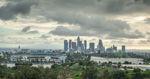 Cloudy Timelapse Of Dodgers Stadium And Downtown Los Angeles Skyline