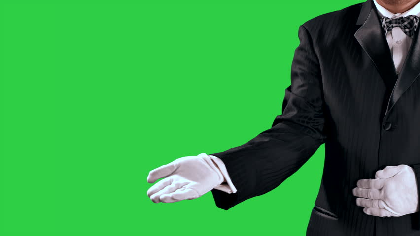 4K Tuxedo Man Gestures, Open Hand Reveal to Center Screen, Green Screen