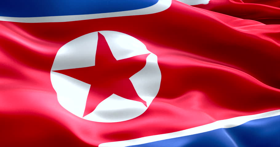north korea flag waving texture fabric background, crisis of north and south korea, korean risk nuclear bomb war concept