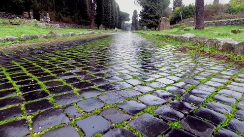 Appia ancient Roman road from the drone/historic monuments of Rome Via Appia Antica