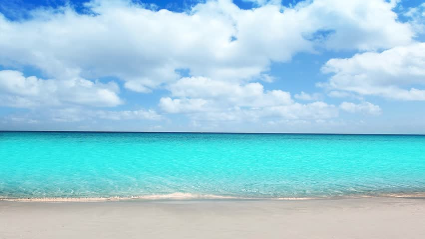 Beach Sand Clouds Sea Caribbean Water Peaceful: Beach, Sand And Ocean With Sky And Clouds Background Image