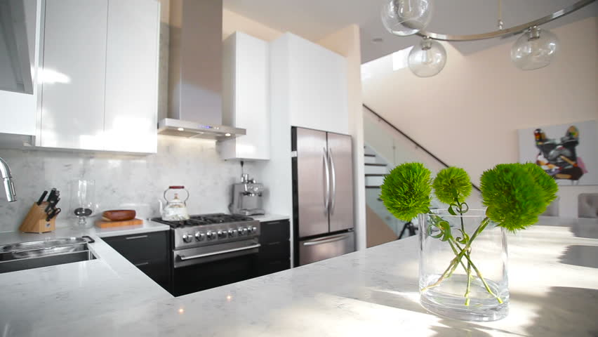 . White Modern Kitchen in a Stock Footage Video  100  Royalty free  24324347    Shutterstock