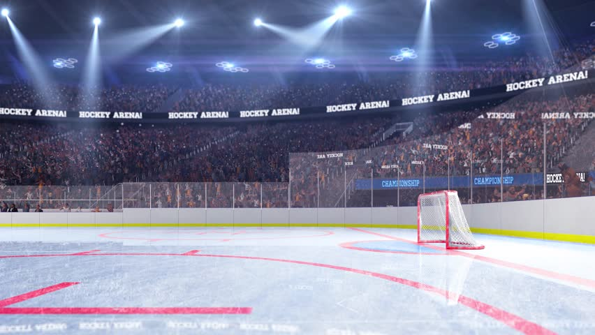 Hockey court with people fan. Sport arena. Ready to start championship. 3d render. Moving lights  | Shutterstock HD Video #24364997