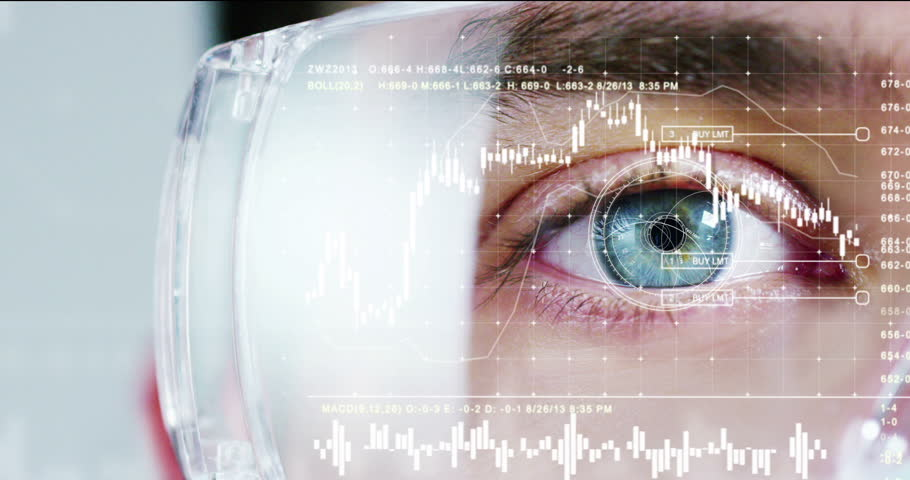 biometric of a scientist with futuristic graphics and holography with financial graphic.