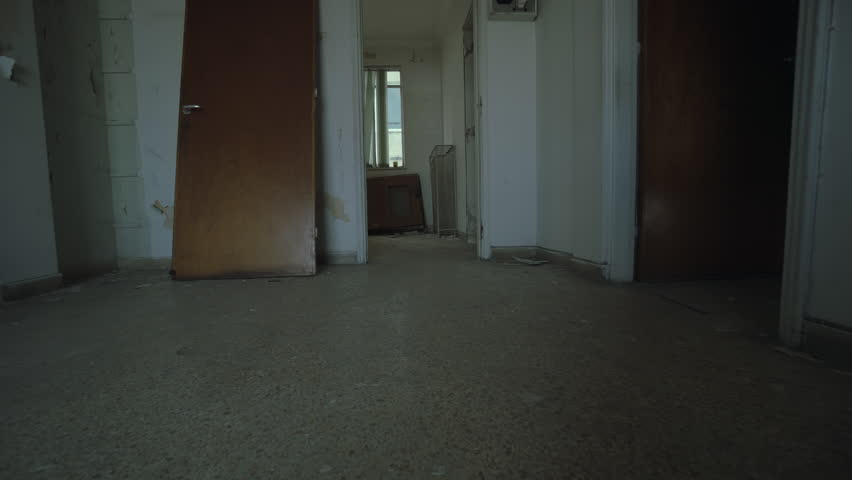 Empty Apartments Inside empty evacuated broken house apartment, interior.panning inside a