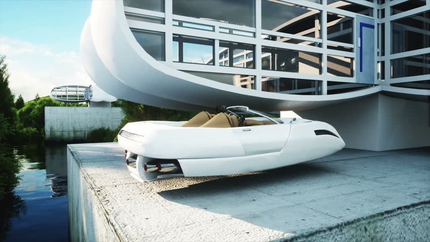 futuristic car flying over the city, village. House of the future. Aerial view. Realistic 4k animation.