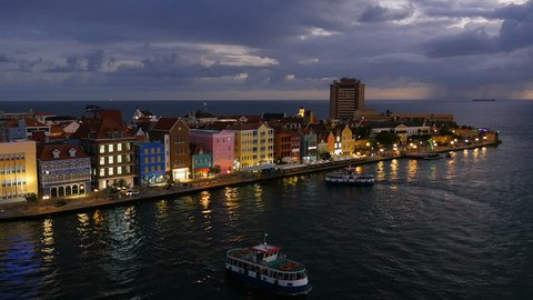 Willemstad, Curacao at night, the ferries move