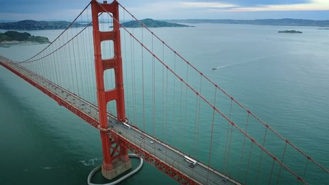 Aerial view of the Golden Gate Bridge. San Francisco, California. United States. Traffic. Shot from a helicopter.