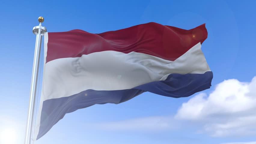Amazing waving Dutch flag on slow motion.