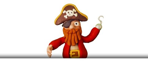 Funny Cartoon Pirate pointing and presenting or showing something. Clay animation. 4K