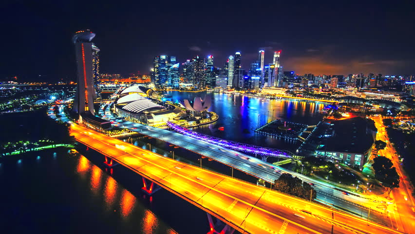 Time lapse scenery singapore city at night light singapore flyer famous