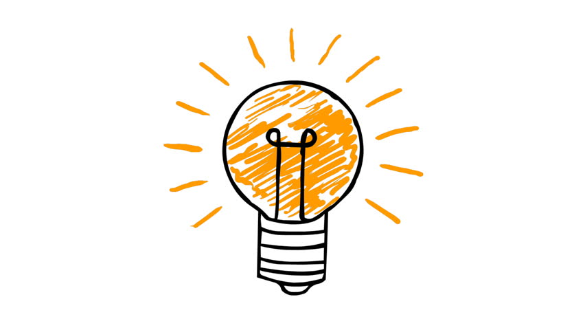 animated cartoon lightbulb loop invention or idea concept