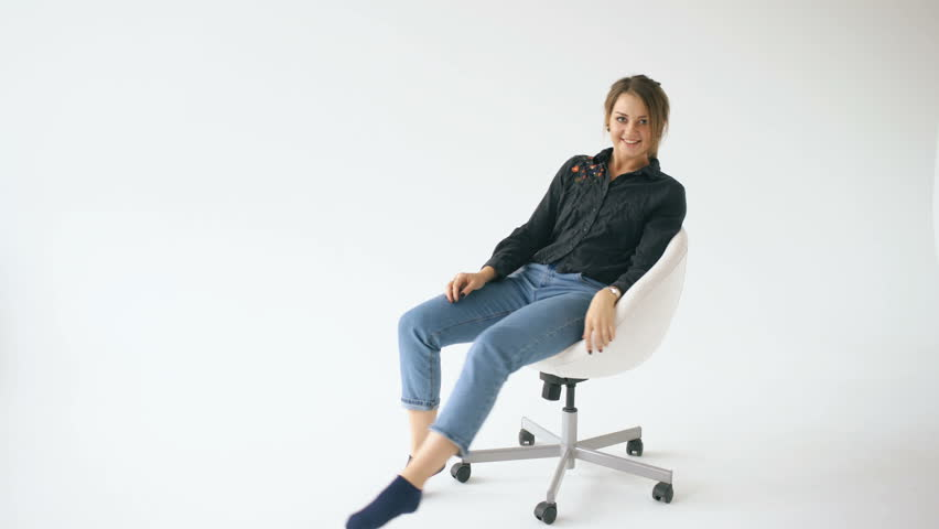 people sitting on chairs png. happy young girl ride white modern office chair and have fun on background - 4k people sitting chairs png k