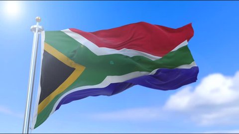 Amazing waving South African flag on slow motion.