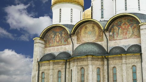 MOSCOW, RUSSIA- JULY 23, 2012: Assumption Cathedral (was the site of coronation of Russian tsars), Moscow Kremlin, Russia. UNESCO World Heritage Site