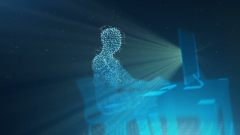 Digital Man Forms Typing at a Computer. a digital man is formed out of particles sitting at a computer typing and shot spins around as person is working