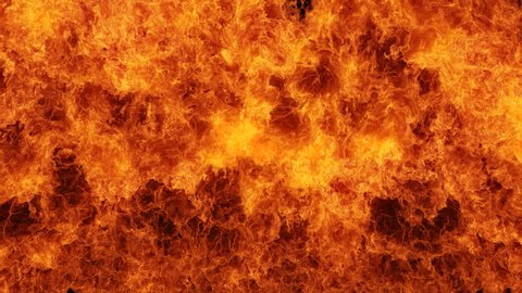 Inferno fire wall in slow motion with seamless loop isolated, hell fire burning up, shooting with high speed camera, intense fuel blazing, perfect for digital composition.