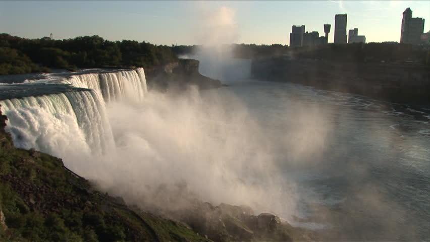 Awe inspiring View of Niagara falls near dusk in New York