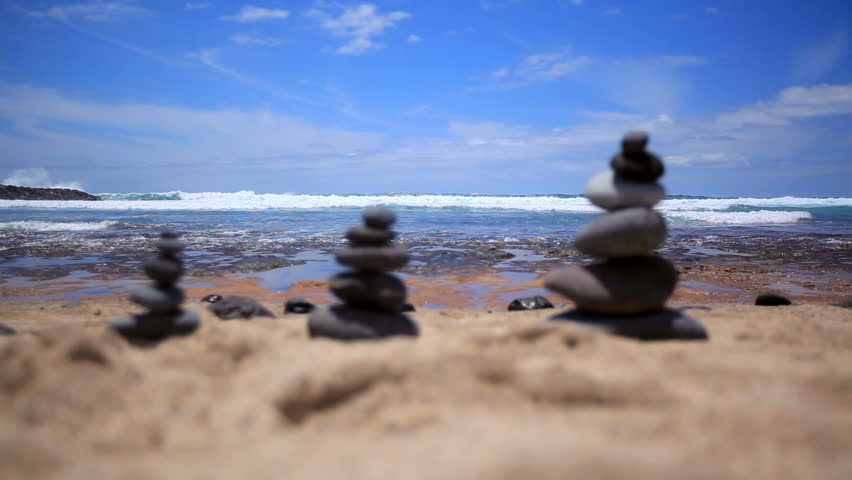Stones Balance On Vintage Beach, Inspirational Summer. Picturesque Sea  Landscape. Tenerife. Ocean