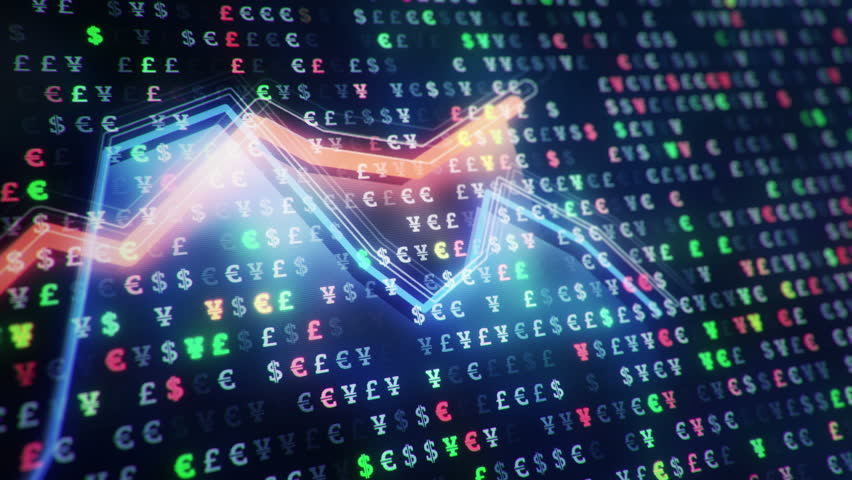 Abstract background with animation of growth graph of stock market on screen of trading board with abstract quotes tickers, words about business or technology, binary code. Animation of seamless loop. | Shutterstock HD Video #24538940