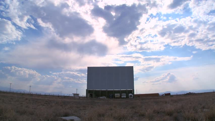Long view of a drive-in movie theater