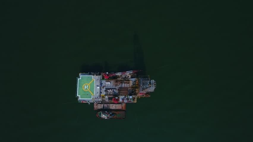 Oil Rig or Oil platform Aerial shot moving away of it