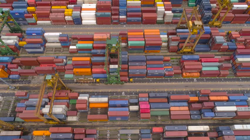 Many containers in industrial port of Singapore Aerial | Shutterstock HD Video #24553847