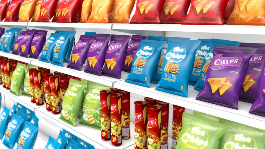 Camera moves along Snacks and Chips Food Aisle at Grocery store. Generic (fictitious) Packages in focus. Unhealthy salty food diet concept. (Seamless Loop)