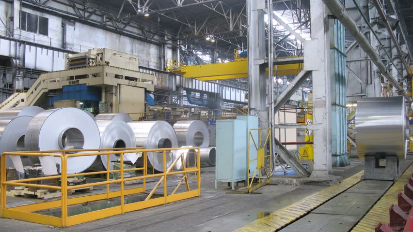 SAMARA - MAY 4: (Timelapse View) Roll of aluminum moves on special rails in production shop of rolling mill, on May 4, 2012 in Samara, Russia