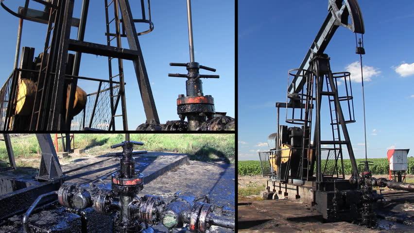Oil Pump Jack in a field, montage split screen   Shutterstock HD Video #2465717