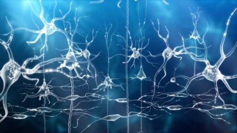 Neuronal Activity Zoom Blue Conceptual animation showing neuronal activity in the human brain.