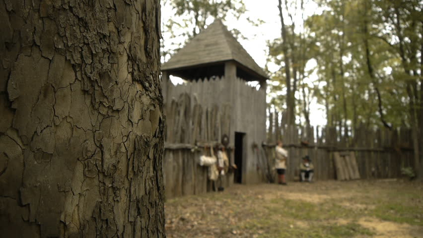 VIRGINIA - OCTOBER 2016 - Reenactment, Colonial pre-revolution American / English Colony in New World. Virginia, Jamestown, Plymouth. 17th century recreation -- Wilderness fortress, walls and towers.
