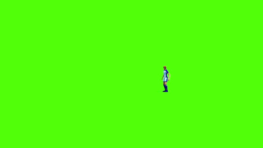 Soccer Player Chest and Kick Front Green Screen 3D Rendering Animation