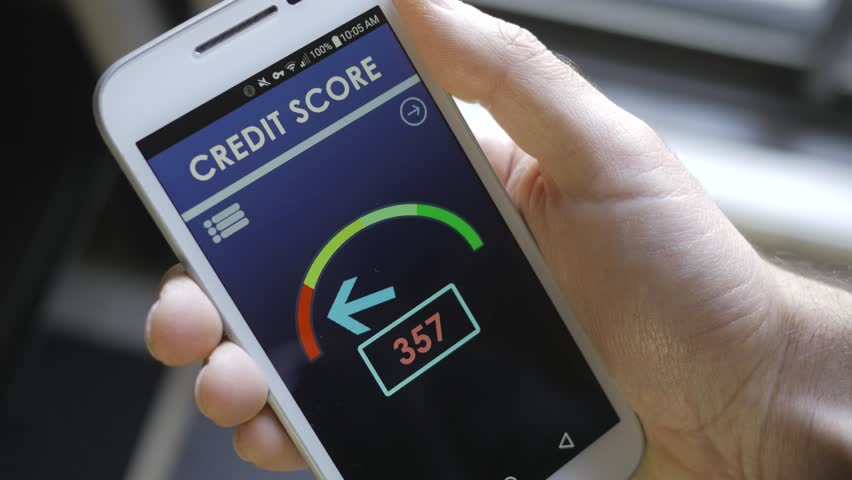 Credit score app on smartphone showing a bad credit history result to the user.
