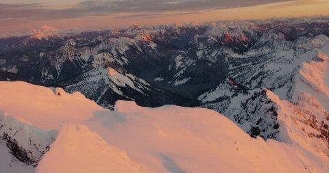 North Cascade Mountains Washington State USA at Sunset. Luminous and Amazing Colors