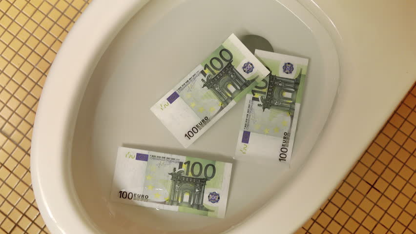 High quality video of flushing euro banknotes in toilet bowl in 4K