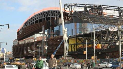 BROOKLYN, NY - FEBRUARY 15, 2012: The Barclays Center is constructed in Brooklyn, NY