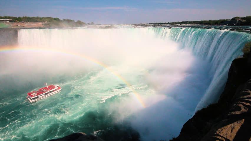 Boat Full of Tourists Gets Sprayed by Horseshoe Waterfall Under Rainbow in Niagara Falls Ontario Canada