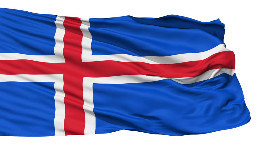 Animation of the full fluttering national flag of Iceland isolated on white