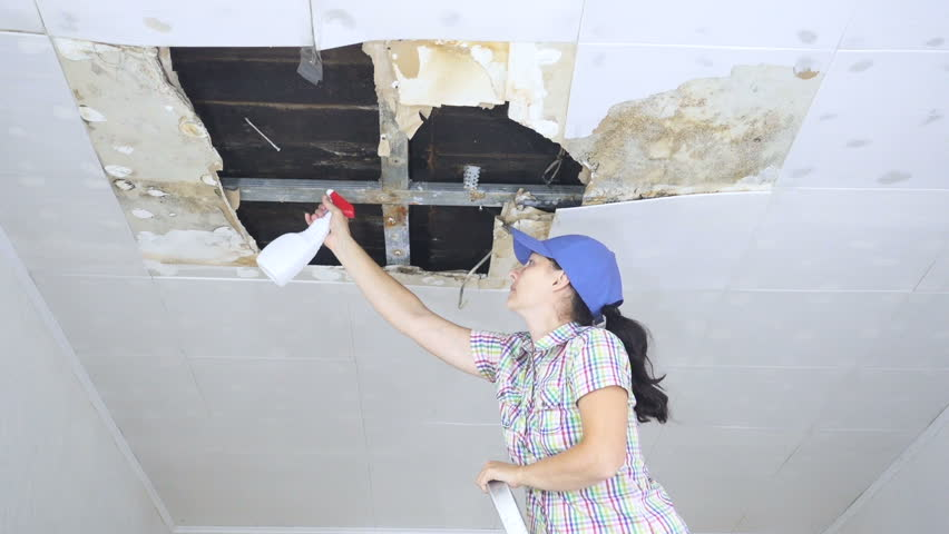 Water damaged ceiling tiles