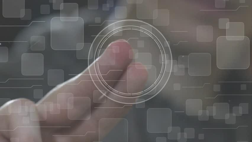 Businessman pressing button bitcoin network icon