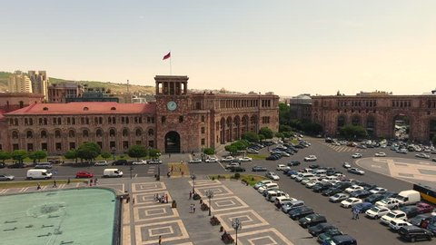 Aerial Video of Republic Square in Yerevan, Armenia sliding shot
