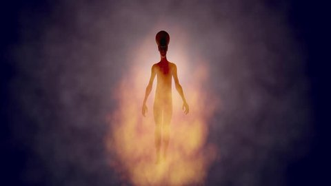Hybrid human alien being walking . Glowing smoke, gas, aura in back and front of character. 3d animation.